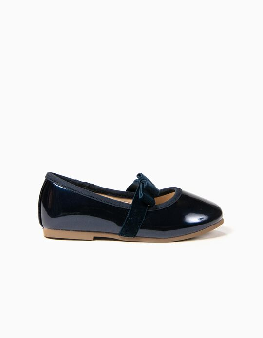 Varnished Ballerinas with Bow for Baby Girls, Dark Blue