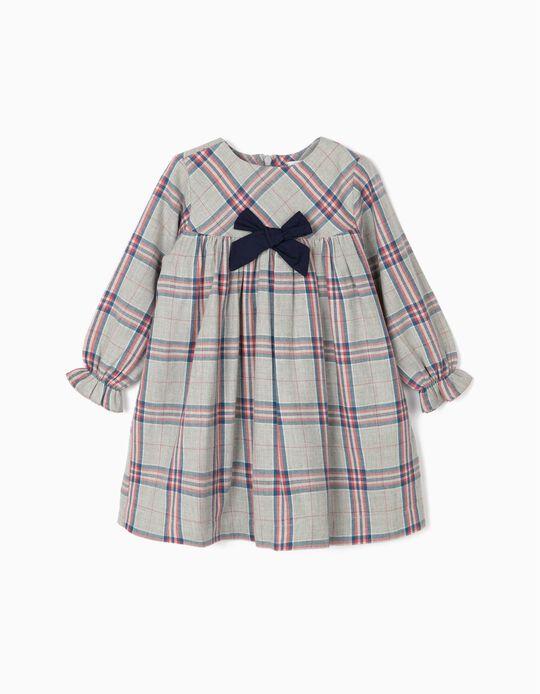 Vestido Ajedrez para Bebé Niña, Gris