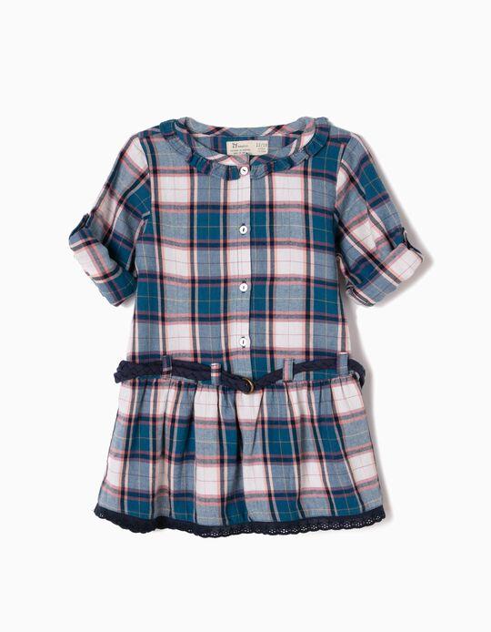Vestido Bebé Niña Ajedrez con Cinturón