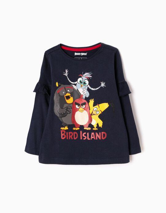 T-shirt Manga Comprida Angry Birds Azul Escura