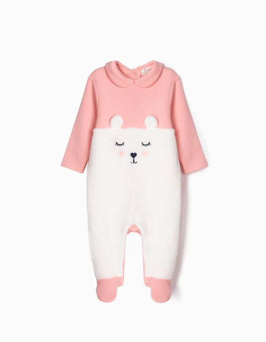 Sleepsuit for Newborn Girls 'Teddy Bear', Pink/White