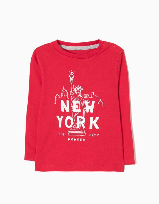 Camiseta de Manga Larga New York Rojo
