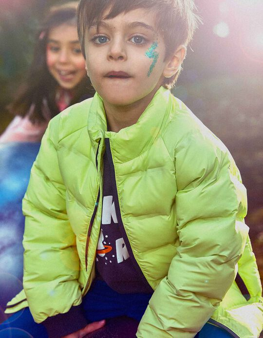 Padded Jacket for Boys, 'Explorer', Lime Yellow