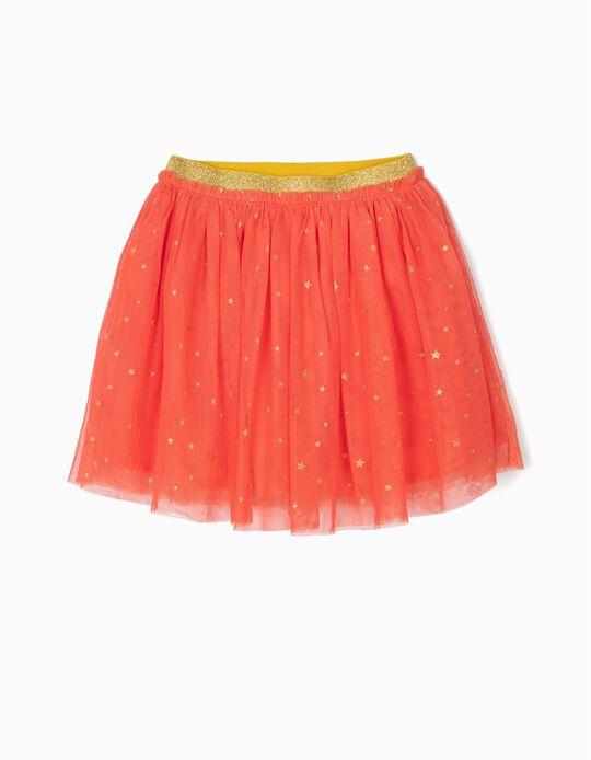 Falda de Tul para Niña con Brillantes, Coral