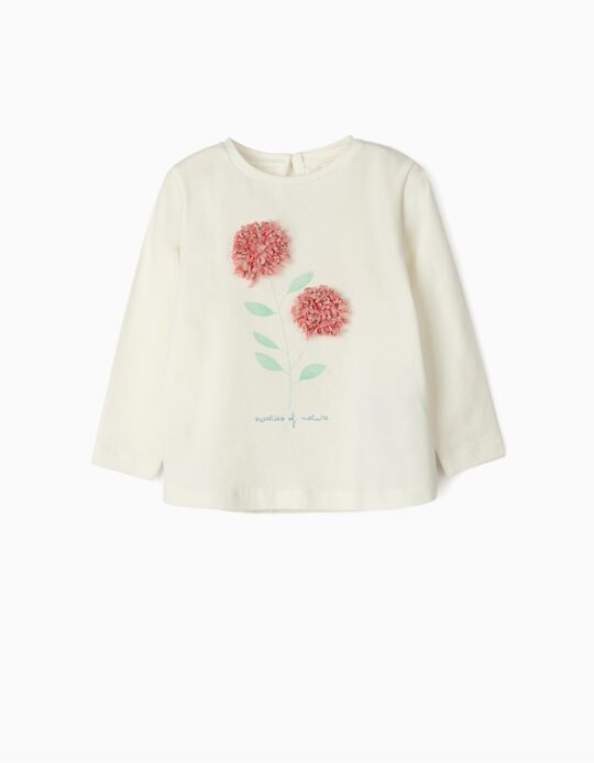 T-Shirt de Manga Comprida para Bebé Menina 'Flower', Branco