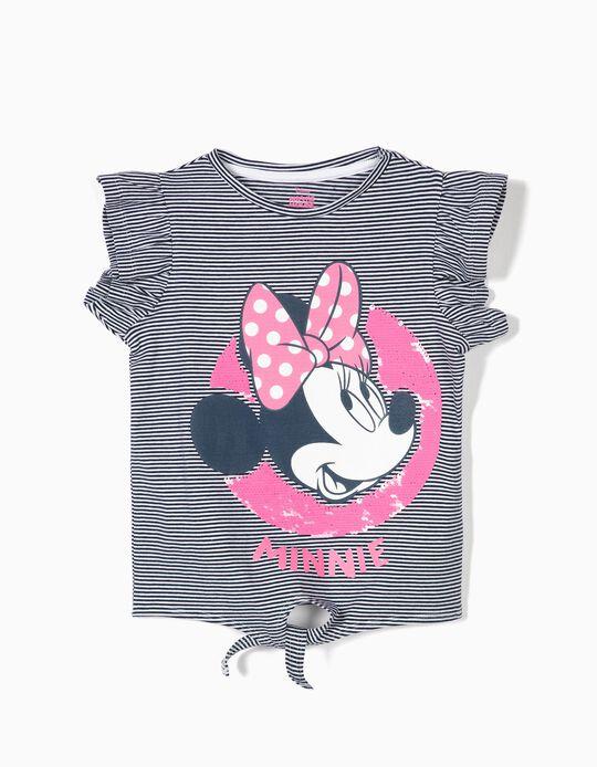 Camiseta para Niña 'Minnie' con Nudo Delante, Azul y Blanco