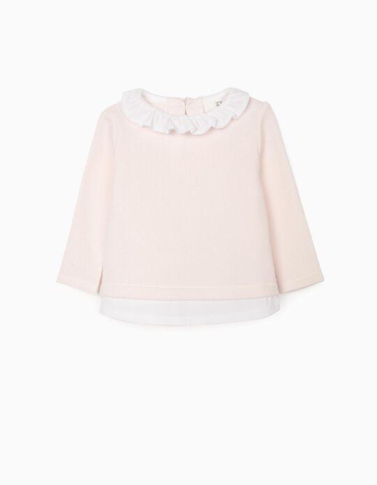 Jumper-Blouse for Newborn Baby Girls, Pink/White