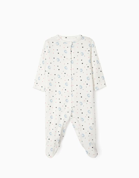 Long Sleeve Sleepsuit for Newborn Baby Boys, 'WH', White