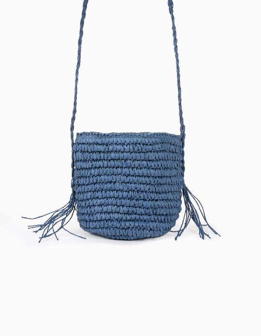 Crossbody Raffia Bag for Girls, Blue