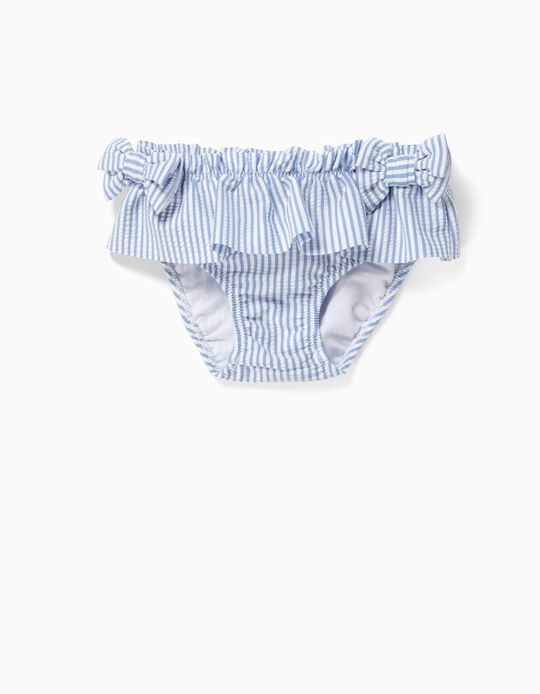 Swim Briefs for Baby Girls, 'Stripes', Anti-UV 80, Blue and White