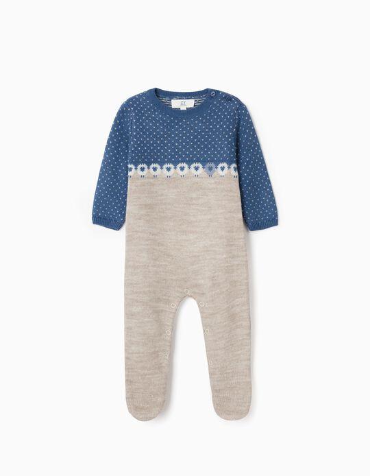 Babygrow de malha para Recém-Nascido, Azul/Bege