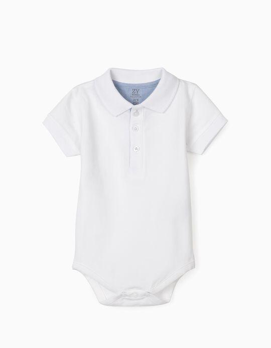 Body-Polo para Bebé Menino, Branco