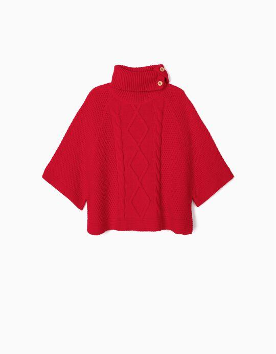 Poncho de Malha para Menina, Vermelho