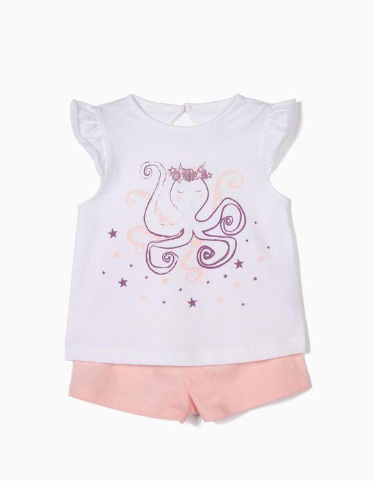 Pijama para Bebé Menina 'Octopus', Branco e Rosa