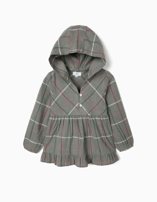 Plaid Blouse with Hood for Girls, Grey