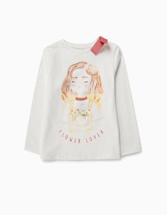 Camiseta Manga Larga para Niña 'Flower Lover', Blanca