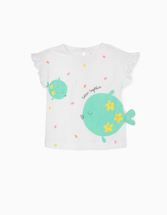 T-shirt for Baby Girls, 'Birds', White