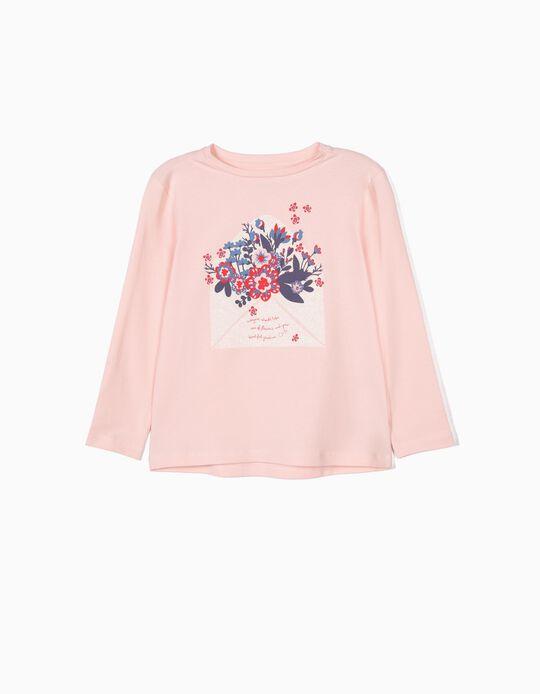 T-shirt Manga Comprida para Menina 'Flowers', Rosa