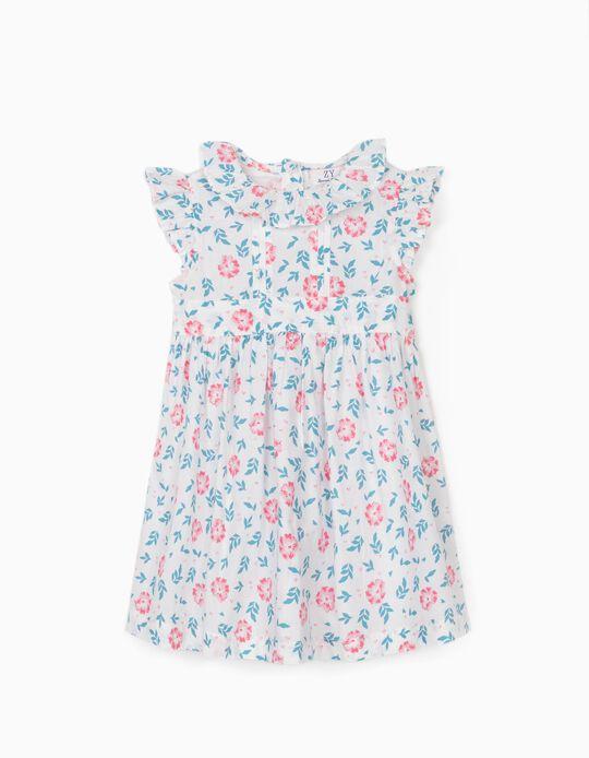 Vestido de Flores para Bebé Niña, Blanco