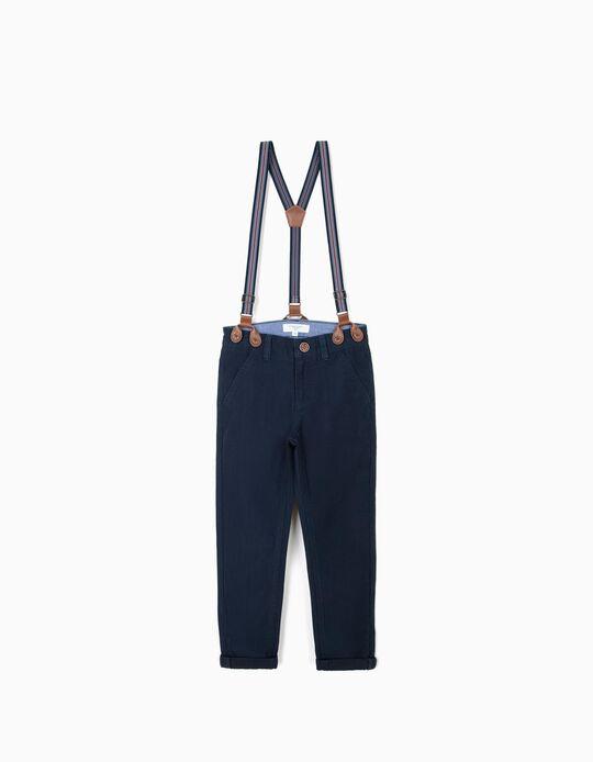 Pantalón Chino para Niño 'B&S' con Tirantes, Azul Oscuro