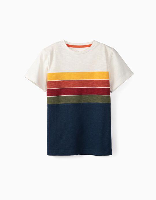 T-shirt para Menino 'Riscas', Multicolor