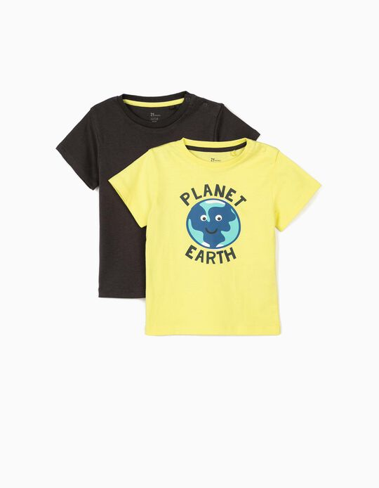 2 T-shirts for Baby Boys 'Earth', Lime Yellow/Dark Grey