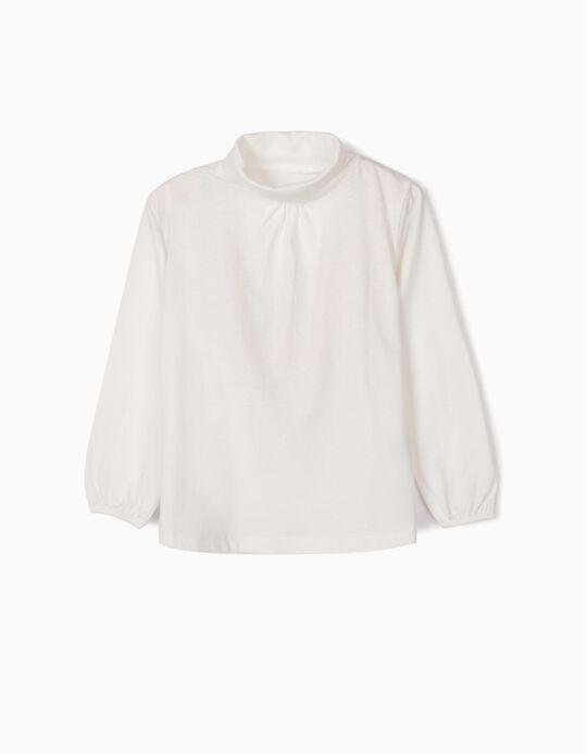 T-shirt Manga Comprida para Menina com Gola Alta, Branco