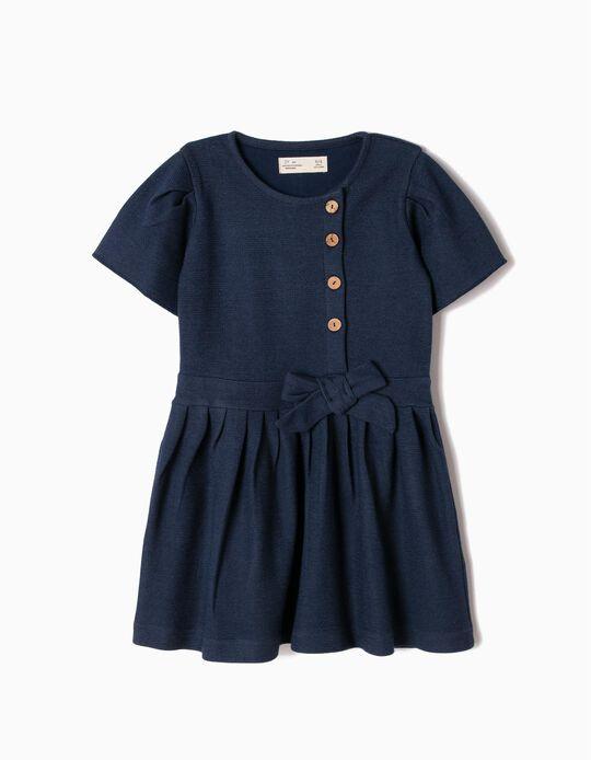Vestido de Pregas Azul com Laço