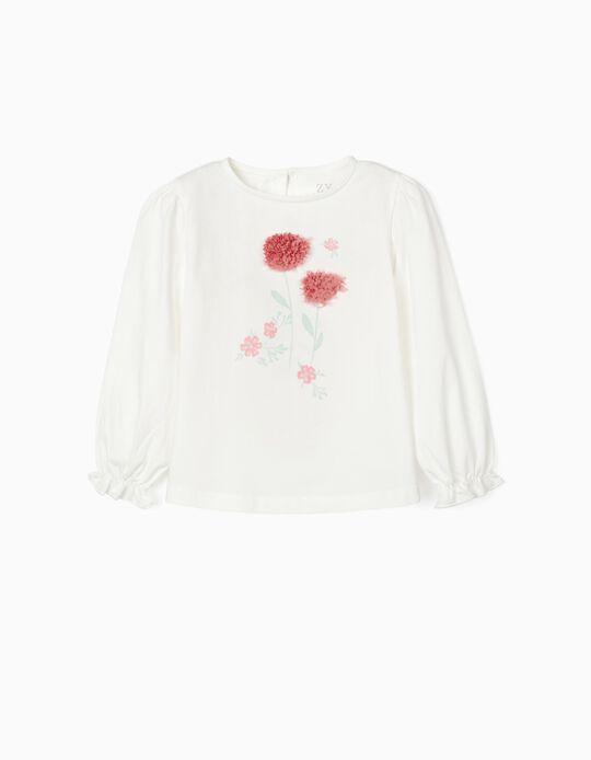 T-shirt Manga Comprida para Menina 'Flowers', Branco