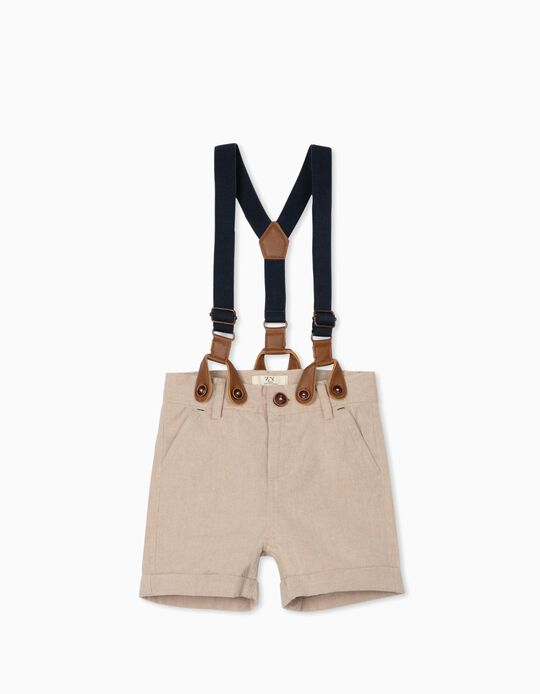 Chino Shorts with Braces for Baby Boys, Beige
