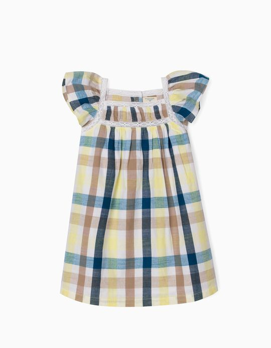 Chequered Dress for Girls, 'B&S', Multicoloured
