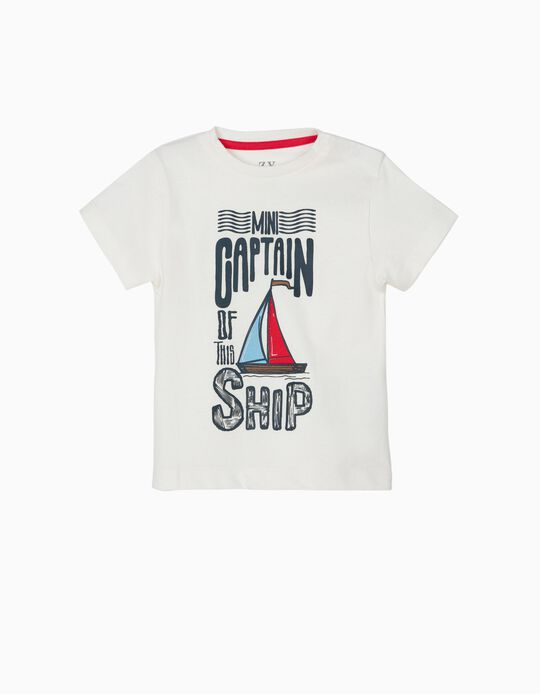 T-shirt para Bebé Menino 'Mini Captain', Branco