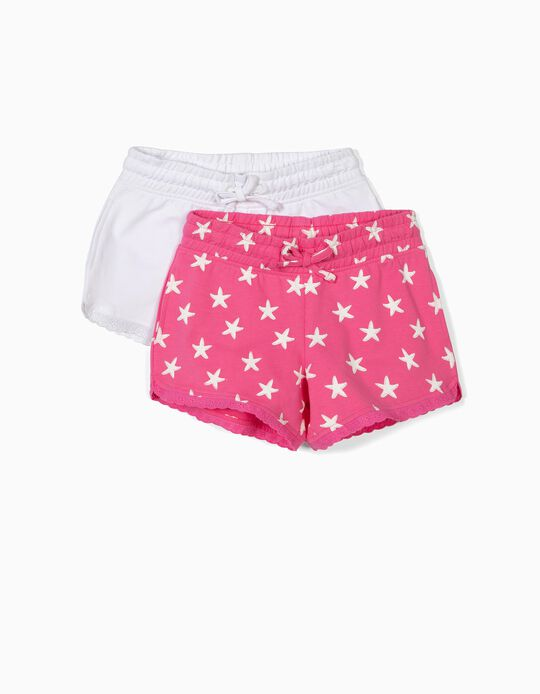 2 Shorts de Punto para Niña, Rosa y Blanco