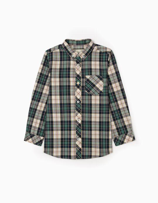 Camisa Xadrez para Menino, Verde/Azul/Bege