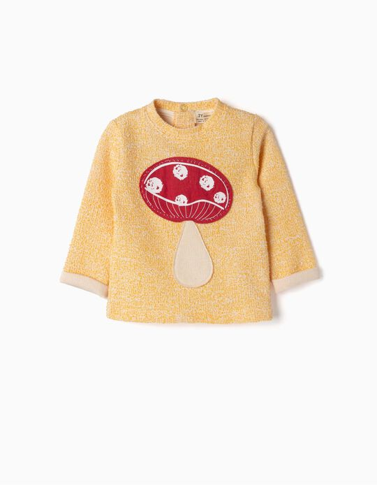 Sweatshirt for Newborn Girls 'Mushroom', Yellow