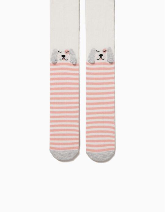 Leotardos de Punto para Bebé Niña 'Dogs & Stripes', Rosa y Blanco