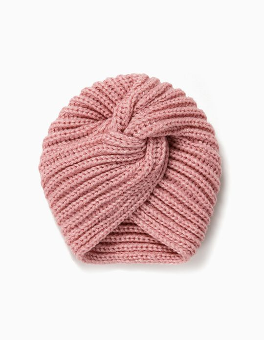 Bonnet turban fille, rose