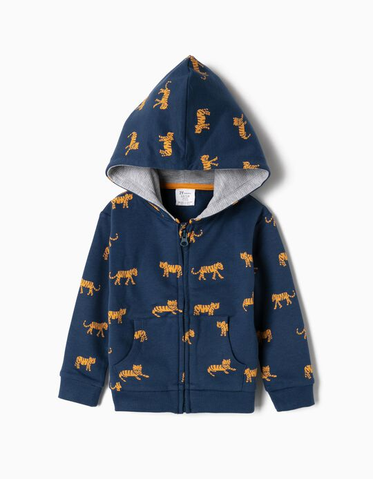 Jacket for Baby Boys 'Tiger' Organic Cotton, Blue
