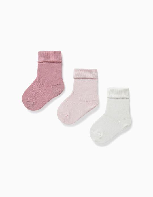 3 Pares Meias com Dobra para Bebé, Rosa/Branco