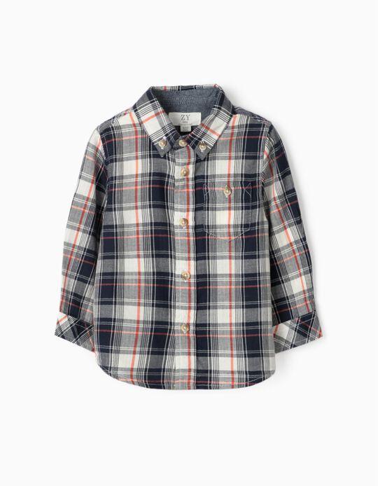 Camisa Ajedrez para Bebé Niño, Azul/Coral