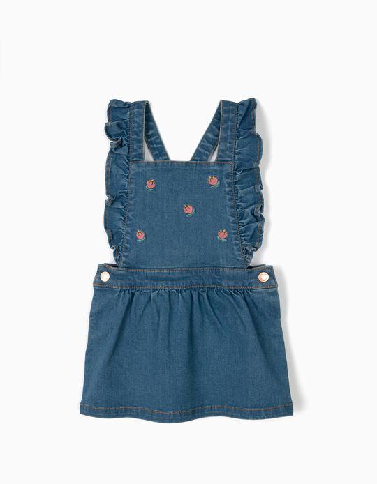 Falda con Peto para Bebé Niña 'Comfort Denim' con Bordados, Azul