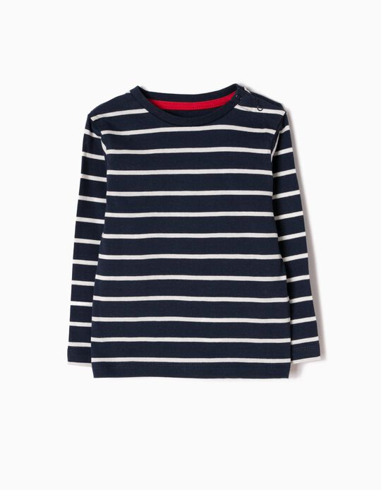 Long-sleeve Top for Baby Boys 'Stripes', Blue/White
