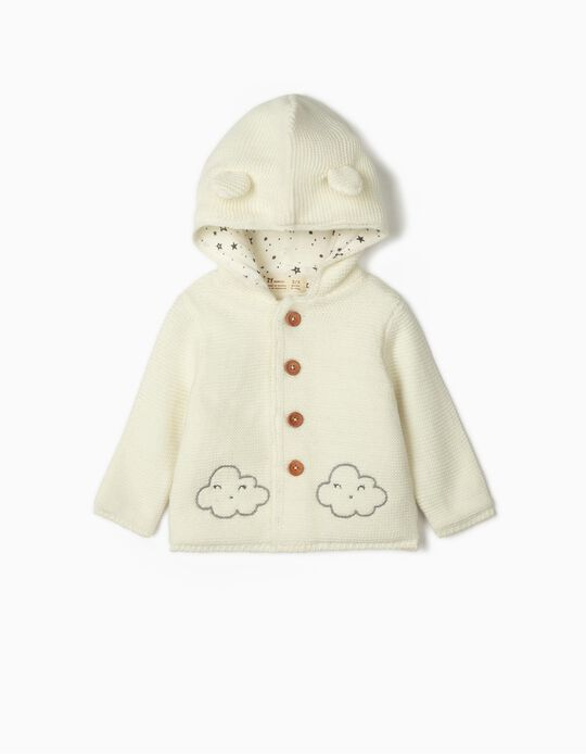Hooded Cardigan for Newborn Baby Girls, White