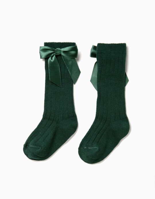 Calcetines Altos de Canalé Verde con Lazo