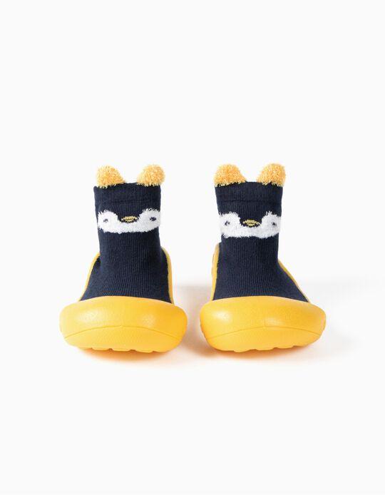Chaussettes avec Semelle en Caoutchouc Bébé 'Steppies', Bleu Foncé/Jaune