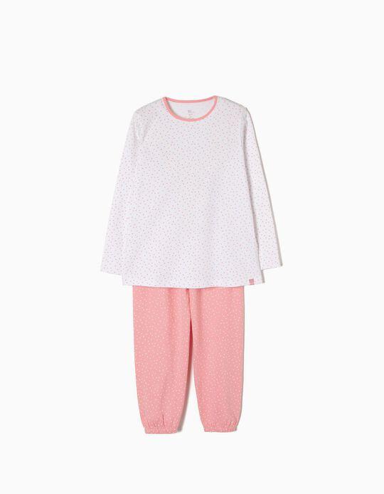 Pijama Manga Larga y Pantalón Lunares