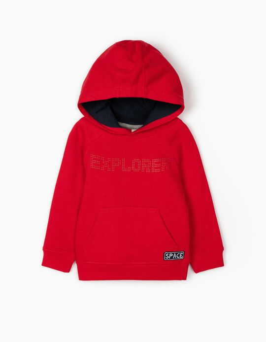 Sweatshirt com Capuz para Bebé Menino 'Explorer', Vermelho