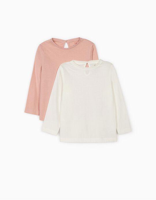2 Camisetas de Manga Larga para Bebé Niña, Blanca/Rosa
