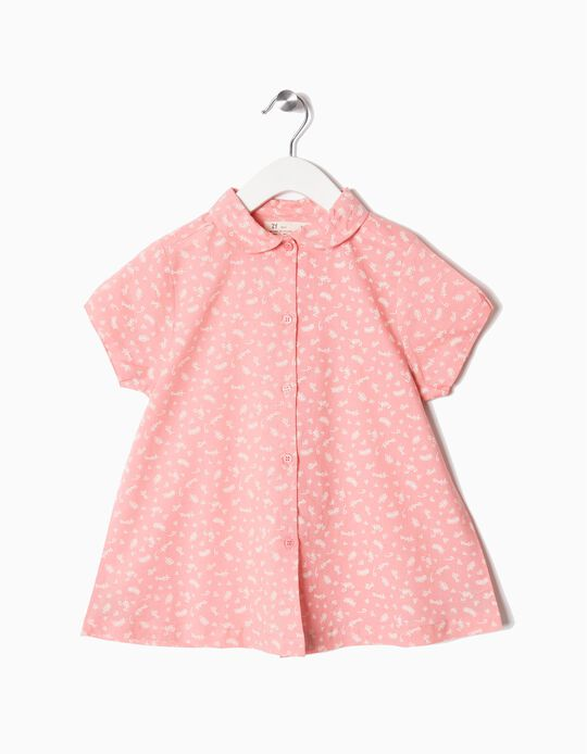 Printed Blouse for Girls, Pink