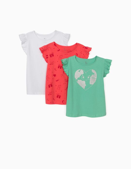 3 T-shirts à volants, multicolore